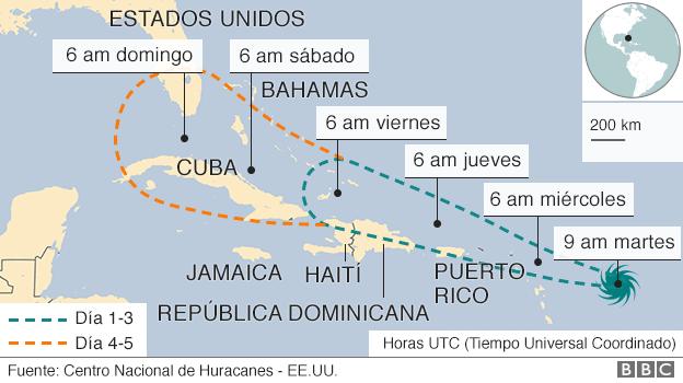 La previsión apunta a que buena parte de los países del Caribe y el estado de Florida se verán afectados por Irma