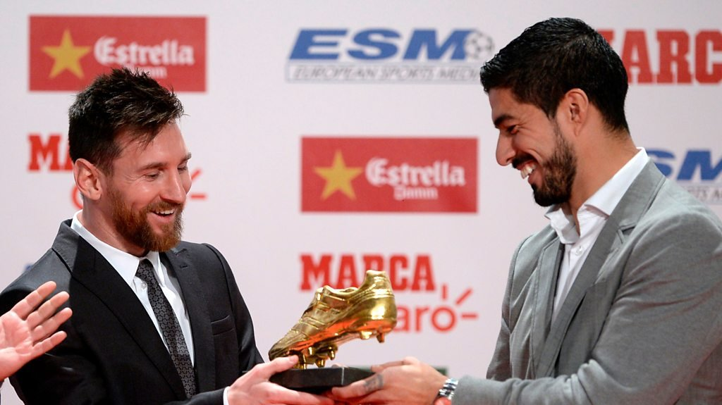 Watch: Messi's fourth Golden Shoe award brings him level with Ronaldo