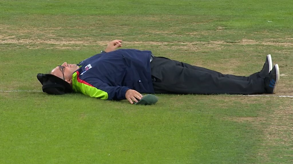 T20 Blast: Umpire Neil Bainton takes a tumble during the match between Yorkshire and Notts
