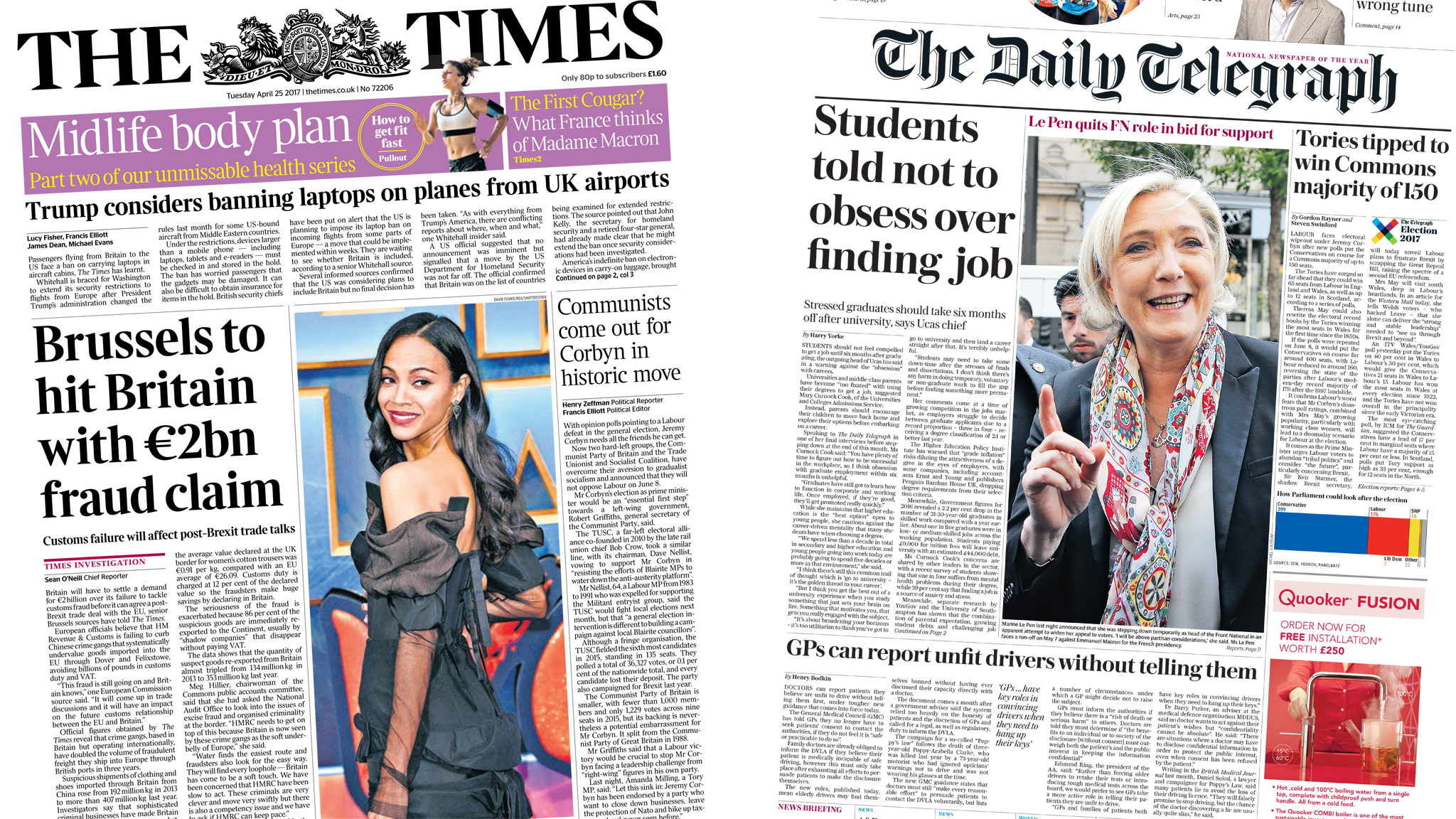 The Papers: Job-obsessed students and 2bn euros bill