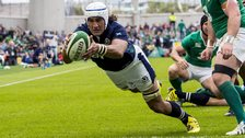 Blair Cowan scores a try for Scotland against Ireland