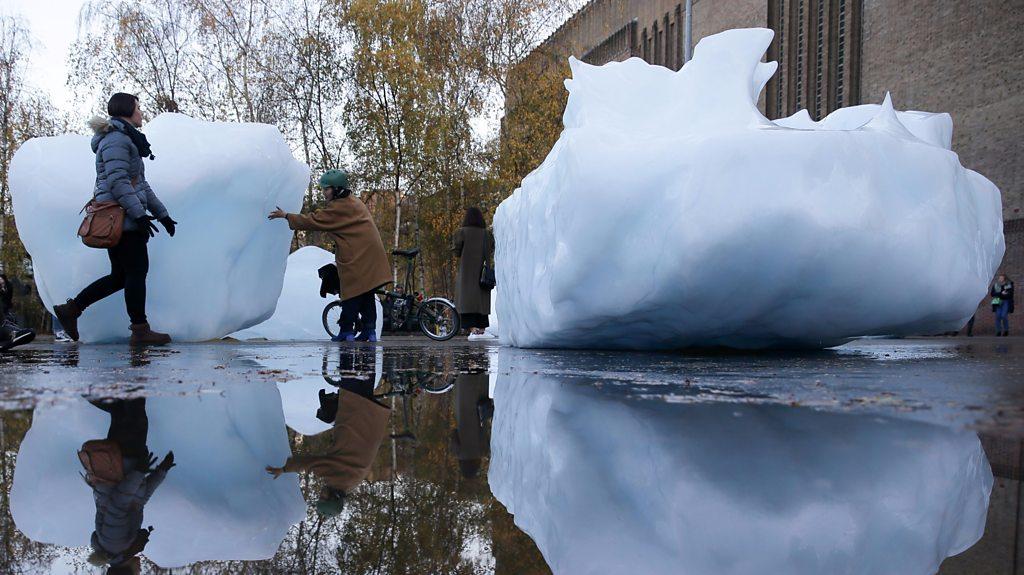 Melting ice art installation opens at London's Tate Modern