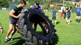 Luke Charteris & Jake Ball train with a truck tyre