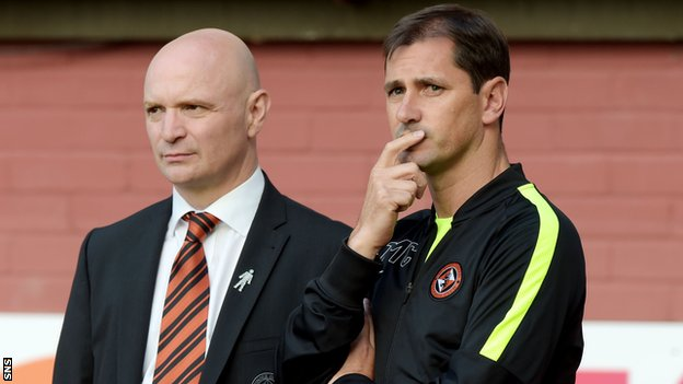 Dundee United chairman Stephen Thompson and Jackie McNamara