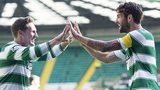 Celtic's Kris Commons and Charlie Mulgrew celebrate