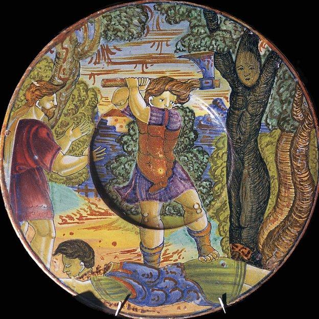 Este plato italiano del siglo XVI muestra a Eresictón talando el árbol que lo condenaría.
