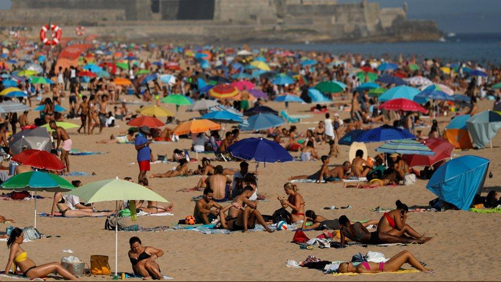 Sunny weather at Carcavelos beach near Lisbon