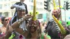 Revellers at carnival, dressed at the Zika-carrying mopsquito