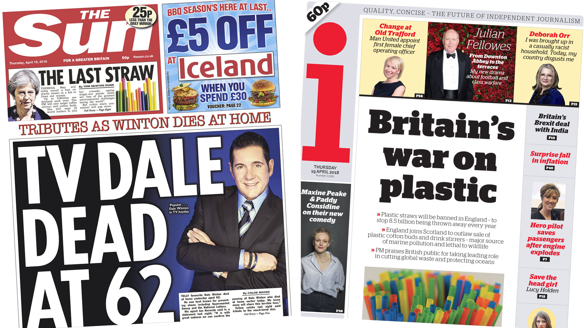 The Papers: Dale Winton tributes and 'war on plastic'
