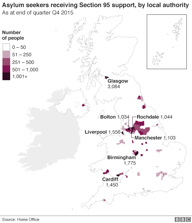 Map of asylum seekers per local authority as of Q4 2015