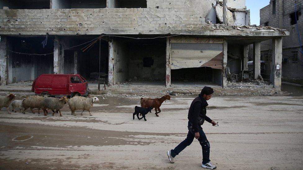 صورة راع سوري يمشي بجوار مبنى مهدم