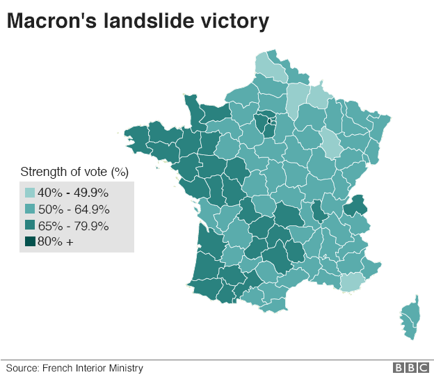 Macron Wins French Election Runoff BBC News - Bbc election map us