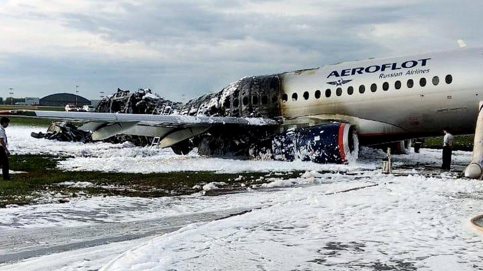 The damaged Aeroflot Sukhoi Superjet 100-95 passenger plane after an emergency landing at Moscow's Sheremetyovo airport