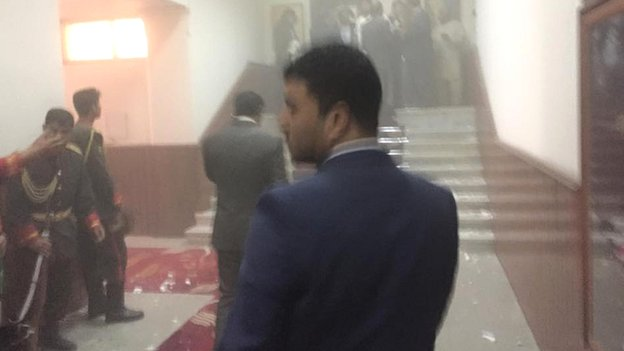 Photo taken by MP Naqibullah Faiq who was present in parliament during the attack