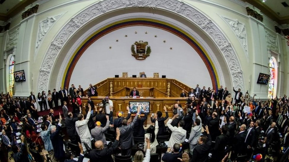Deputies take the oath during the inauguration of the National Assembly, in Caracas, Venezuela, on 5 January 2015