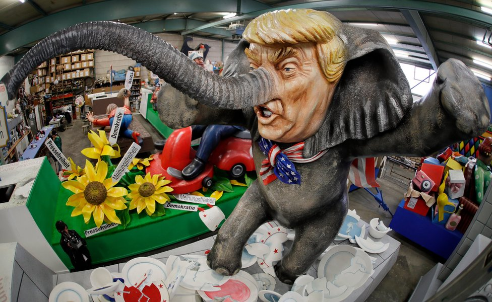 "A carnival float titled ""Trump-el-tier"", depicting the new US President as an ""Elephant in a China shop"", in Mainz, Germany, 21 February 2017."