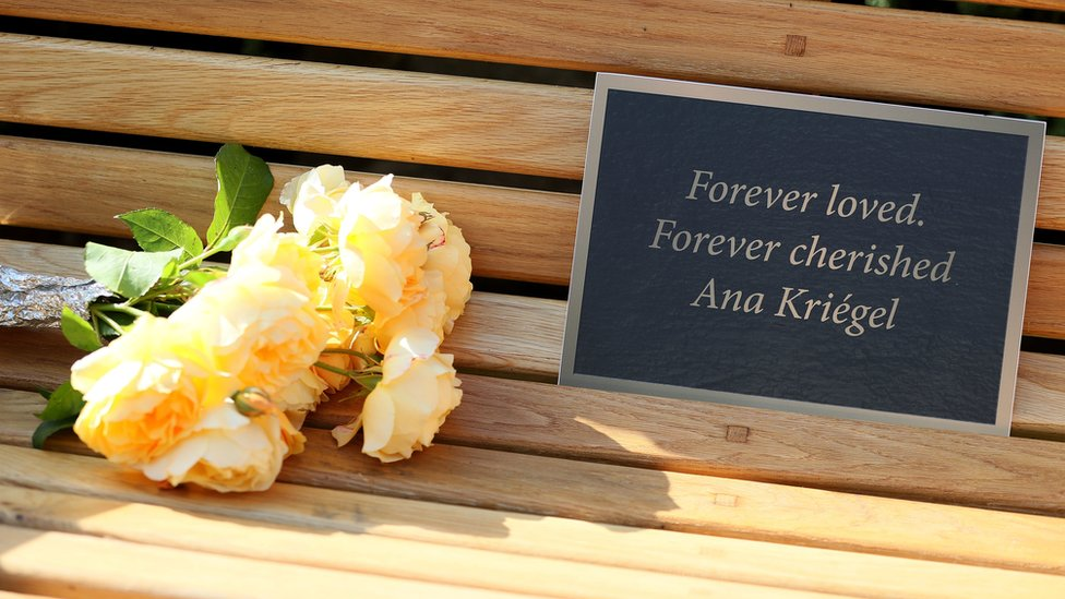 Flowers left on a bench, which was unveiled by the parents of murdered schoolgirl Ana Kriégel, at a ceremony on the grounds of the Leixlip Manor Hotel, Co. Kildare