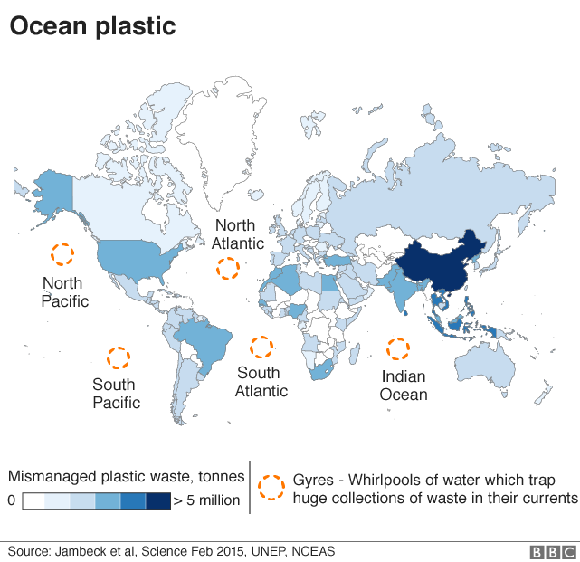 Map: plastic in the seas