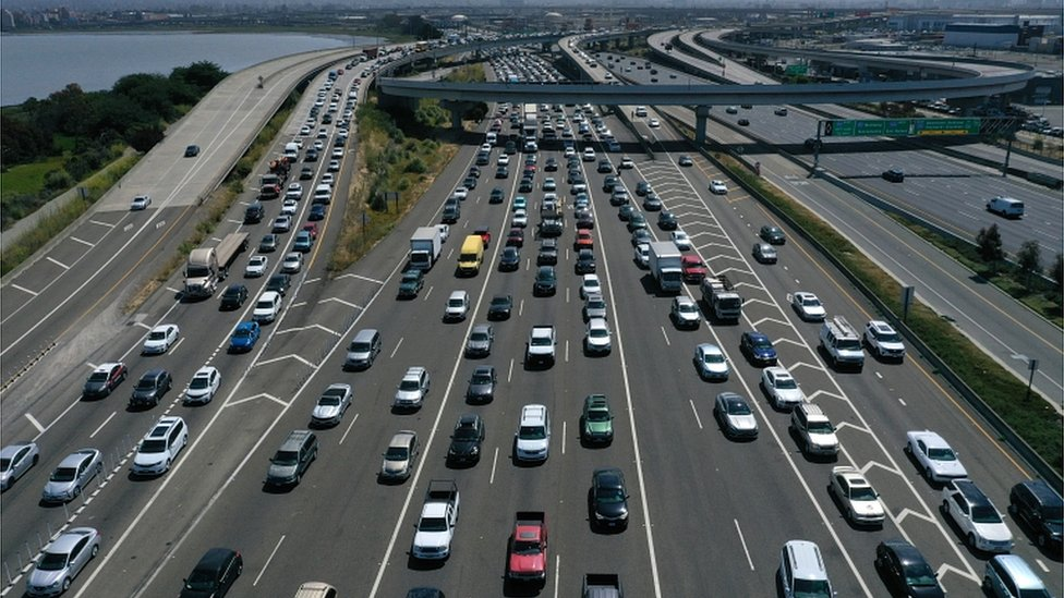Traffic backs up at the San Francisco-Oakland Bay Bridge toll plaza along Interstate 80 on 25 July 2019 in Oakland, California