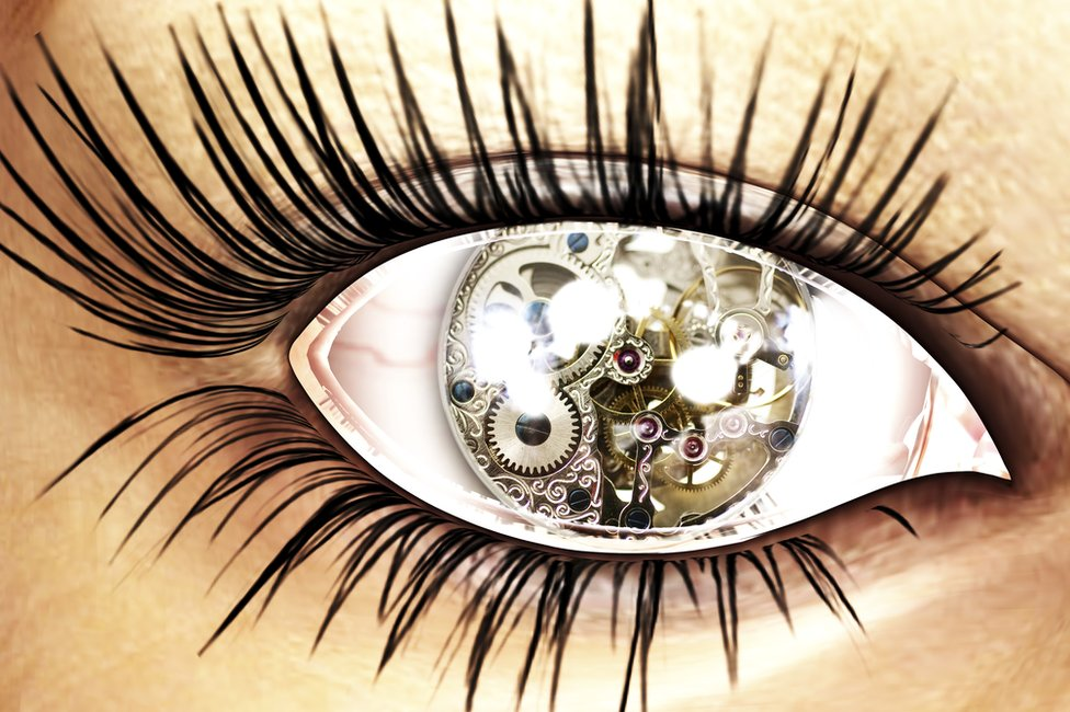 Female clockwork eye graphic