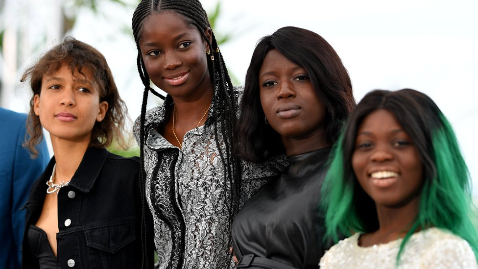 (L-R) Atlantics director Mati Diop and actors Mame Sane, Nicole Sougou and Mariama Gassama.