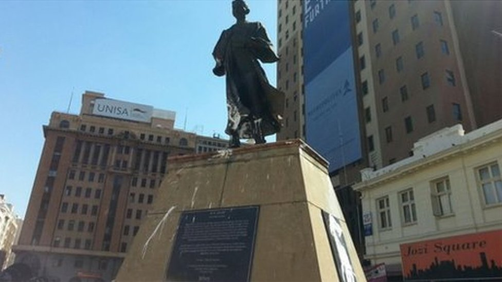 A statue of Mahatma Gandhi in central Johannesburg