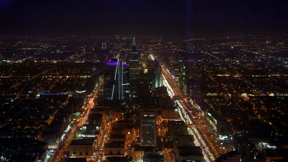 A skyline view of the city from the 99th floor - the viewing floor - at The Kingdom tower on December 7, 2015 in Riyadh, Saudi Arabia