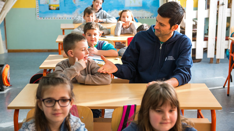Djokovic with school pupils
