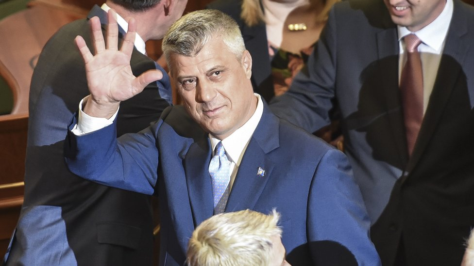 Hashim Thaci was sworn in by parliament on Thursday ahead of Friday's inauguration (7 April)