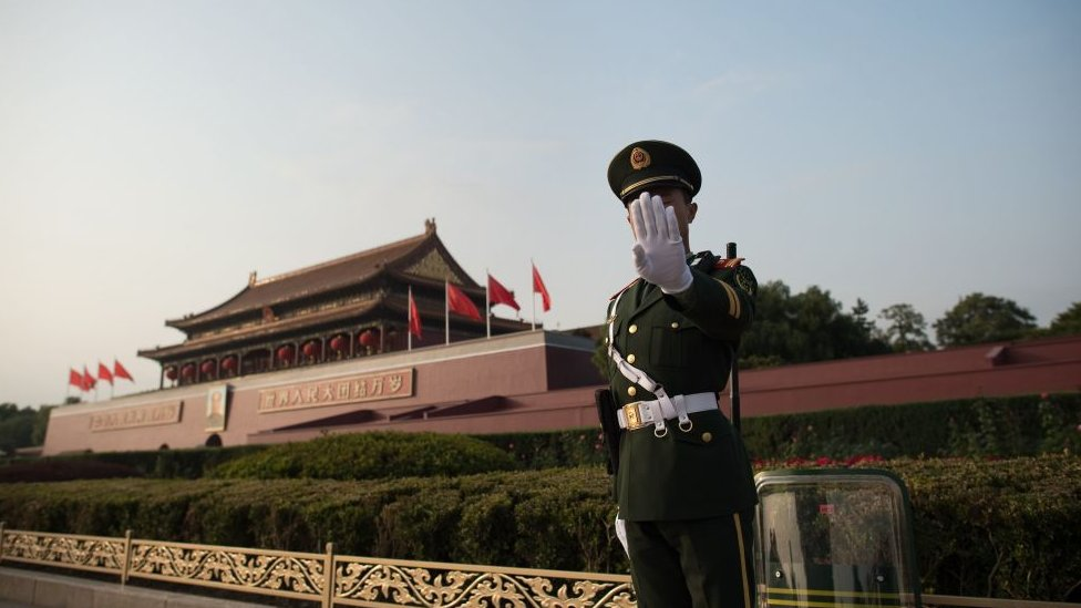 A Chinese paramilitary stands near Tiananmen square during the Communist Party's 19th Congress in Beijing