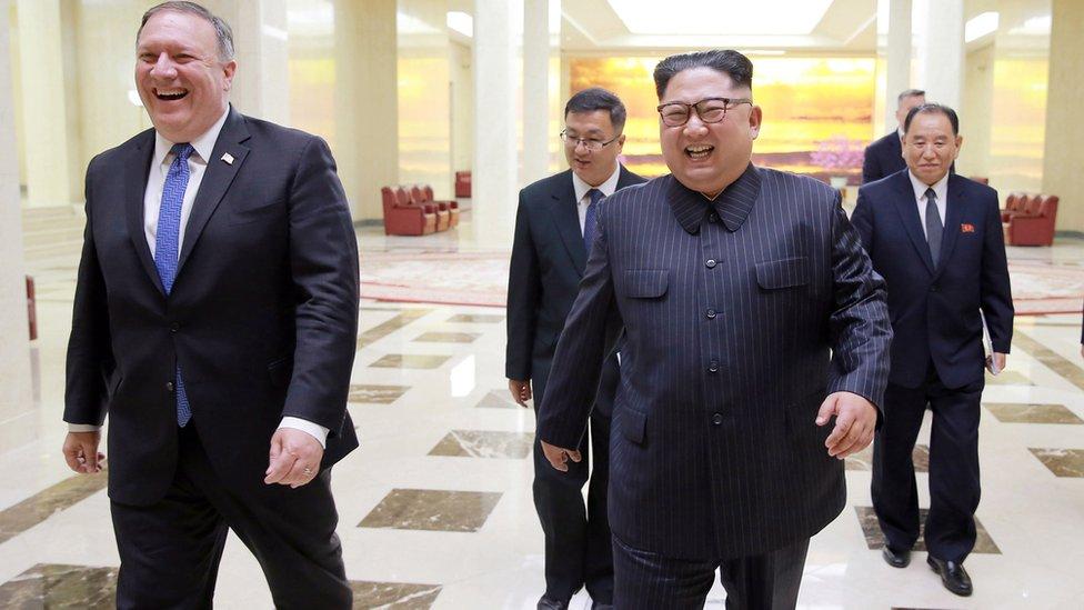 Kim Jong-un y Mike Pompeo
