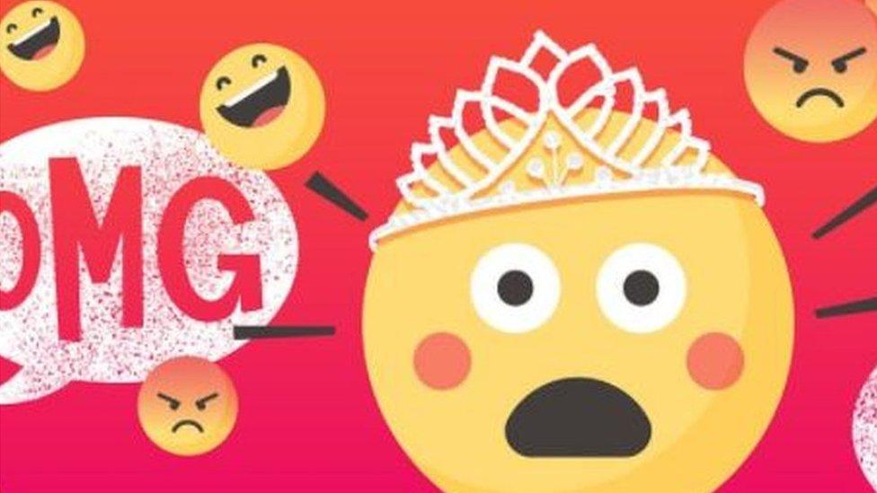 Shocked emoji with Oh My God symbol in background