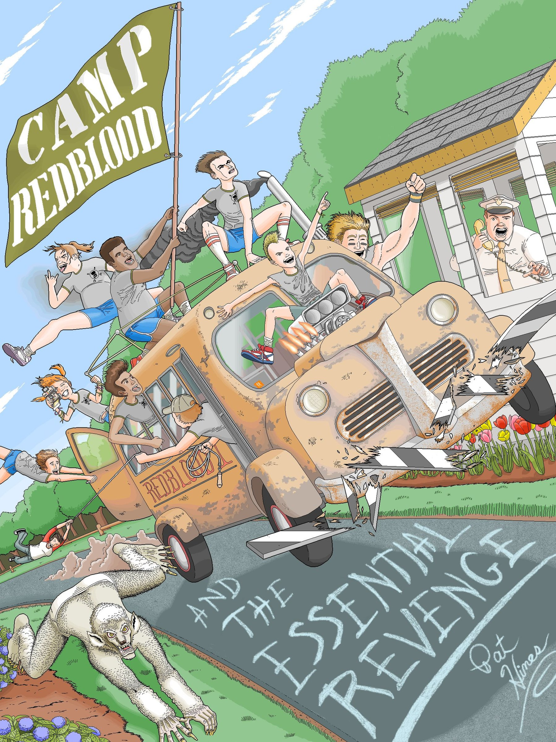 Cover of the e-book Camp Redblood and the Essential Revenge showing a bus driven by rebellious young campers driving through a security checkpoint