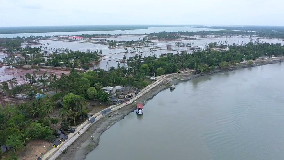 Vista aérea del delta de Sundarbans