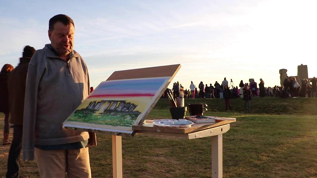 Stonehenge sunrise painted by mouth and foot artist