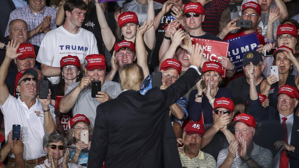 The crowd cheers as U.S. President Donald Trump waves at the end of a 'Make America Great Again' campaign rally at Williamsport Regional Airport, May 20, 2019 in Montoursville, Pennsylvania.
