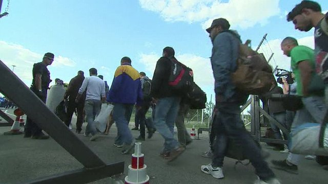 Asylum seekers who have recently arrived in Europe