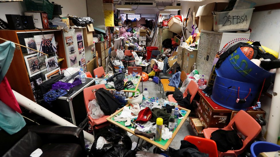Belongings left in a dorm room in Hong Kong Polytechnic