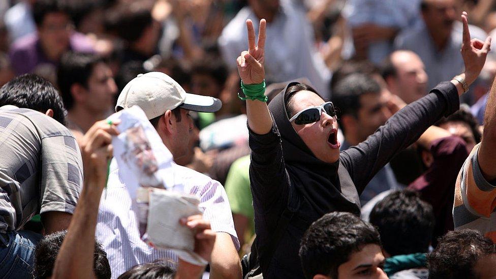 Protestas en Teherán por las elecciones de 2009. NO USAR / BBC