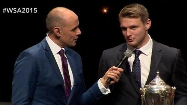 Dan Biggar receives the 2015 BBC Cymru Wales Sports Personality of the Year