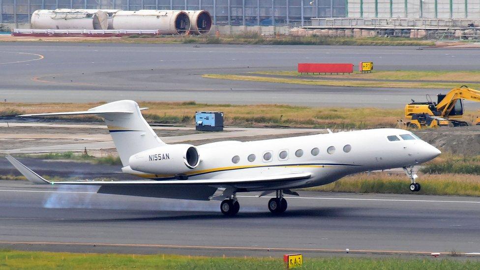 Noviembe de 2018: el jet de Nissan aterrizando en el aeropuerto de Haneda, en Tokio.