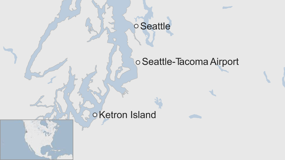 A map showing the airport and Ketron Island