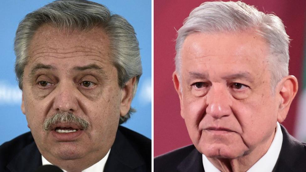 Alberto Fernández (izq.) y Andrés Manuel López Obrador