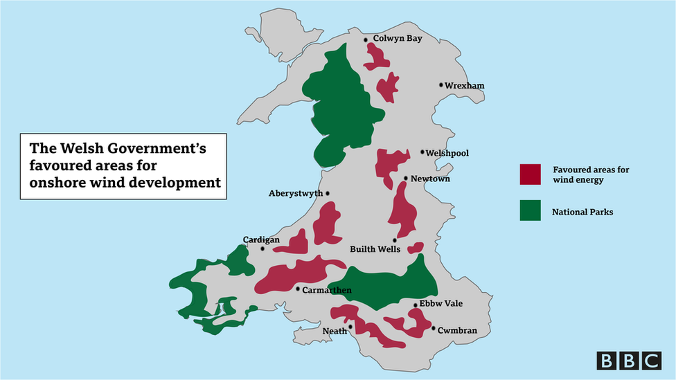 A map of Wales showing 10 favoured areas for wind energy development around Wales
