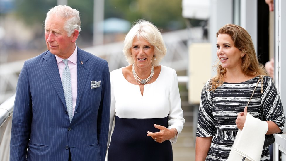 Princess Haya pictured with Prince Charles and the Duchess of Cornwall