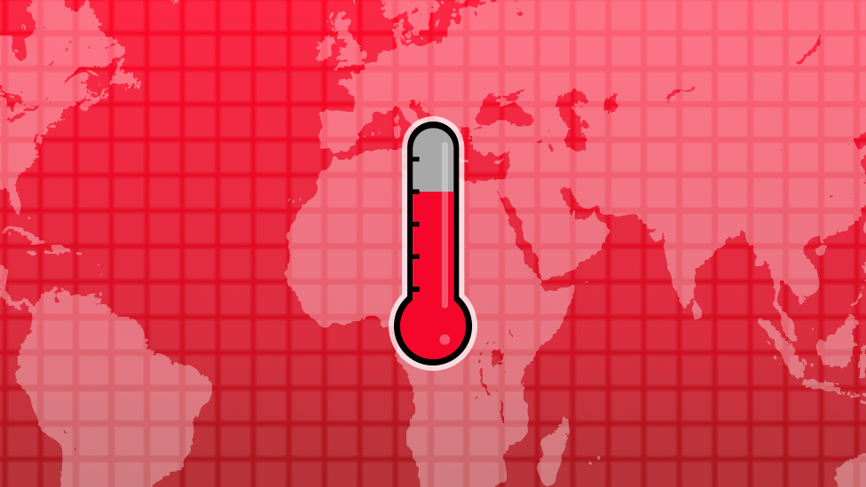 Illustration of a thermometer and a world map to promote how much warmer is your city calculator