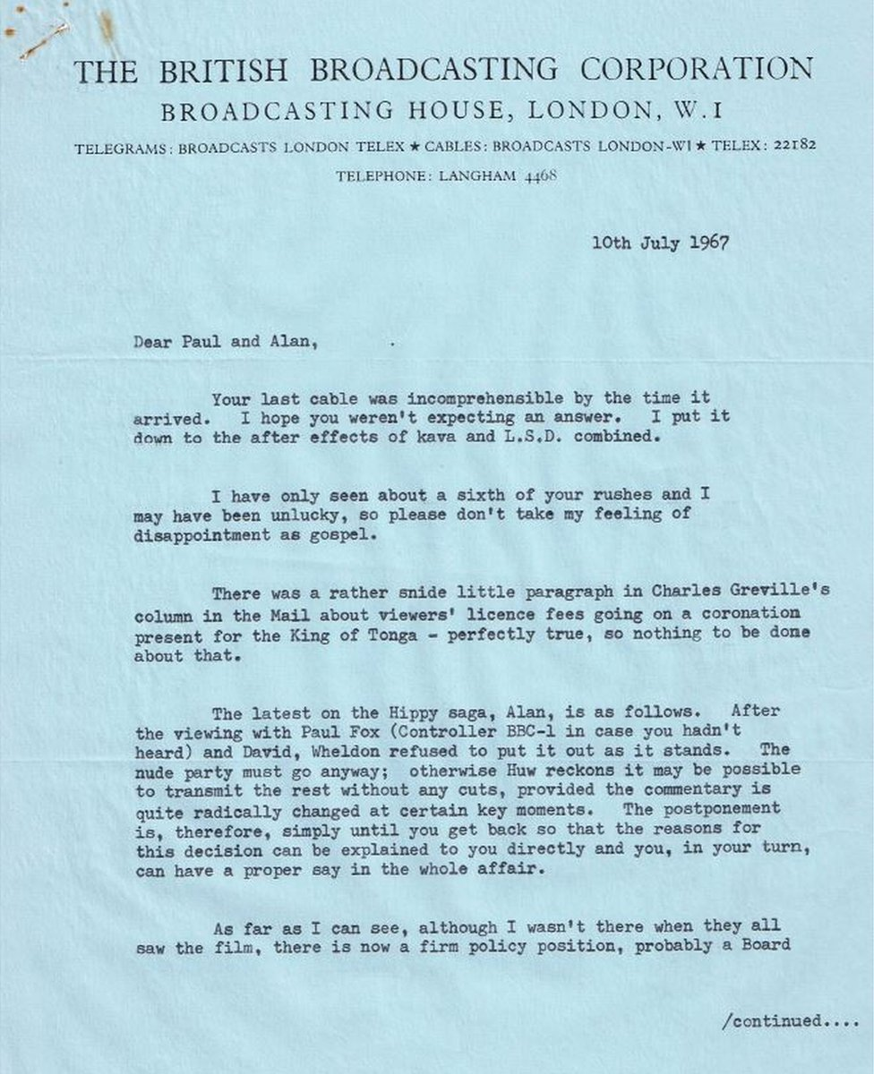 Alan Whicker letter from BBC