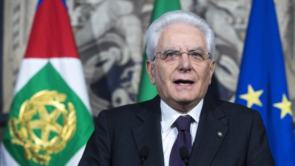Italian President Sergio Mattarella addresses the media at the end of his meeting with the Italian parties during the third round of formal political consultations following the general elections, in Rome, Italy, 7 May 2018