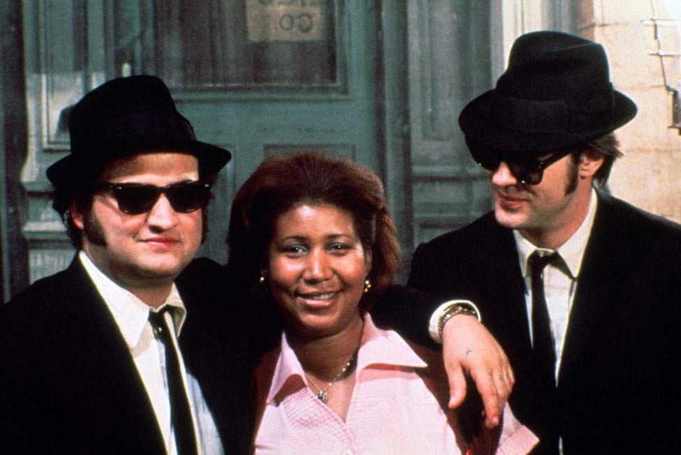 John Belushi, Aretha Franklin and Dan Aykroyd on the set of The Blues Brothers