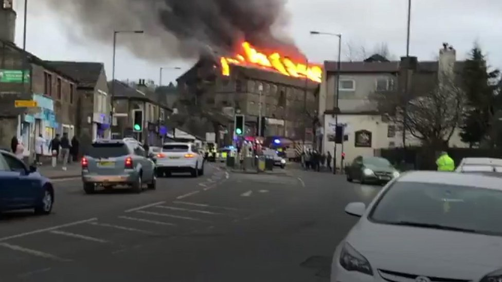 Firefighters tackle large Bradford mill blaze